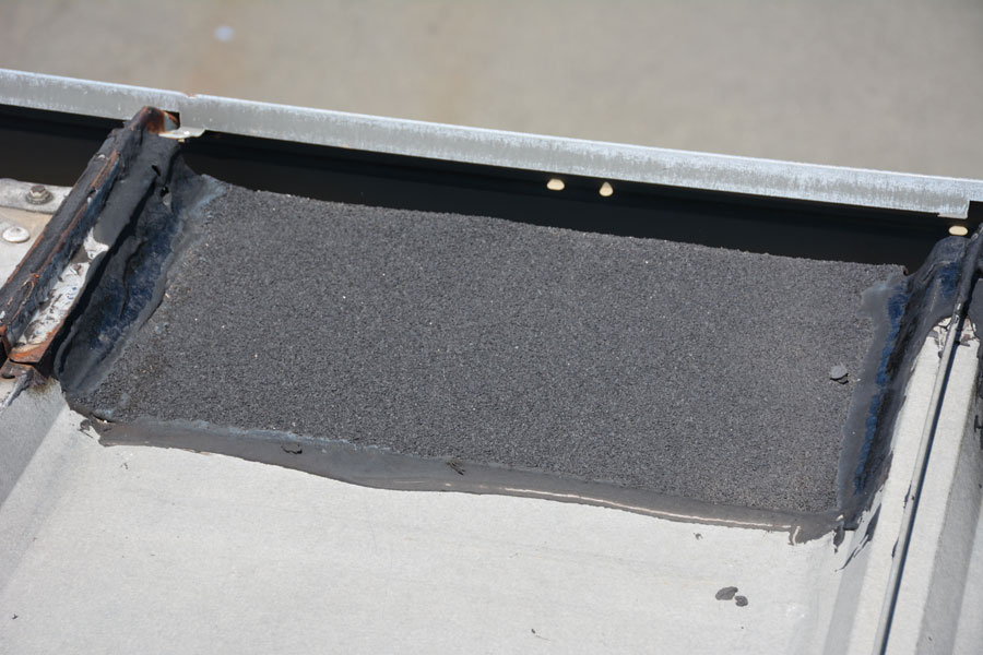 This is the best solution for any metal roof. We install a rubber membrane over roof joints, flashing and any areas where the metal has rusted through.