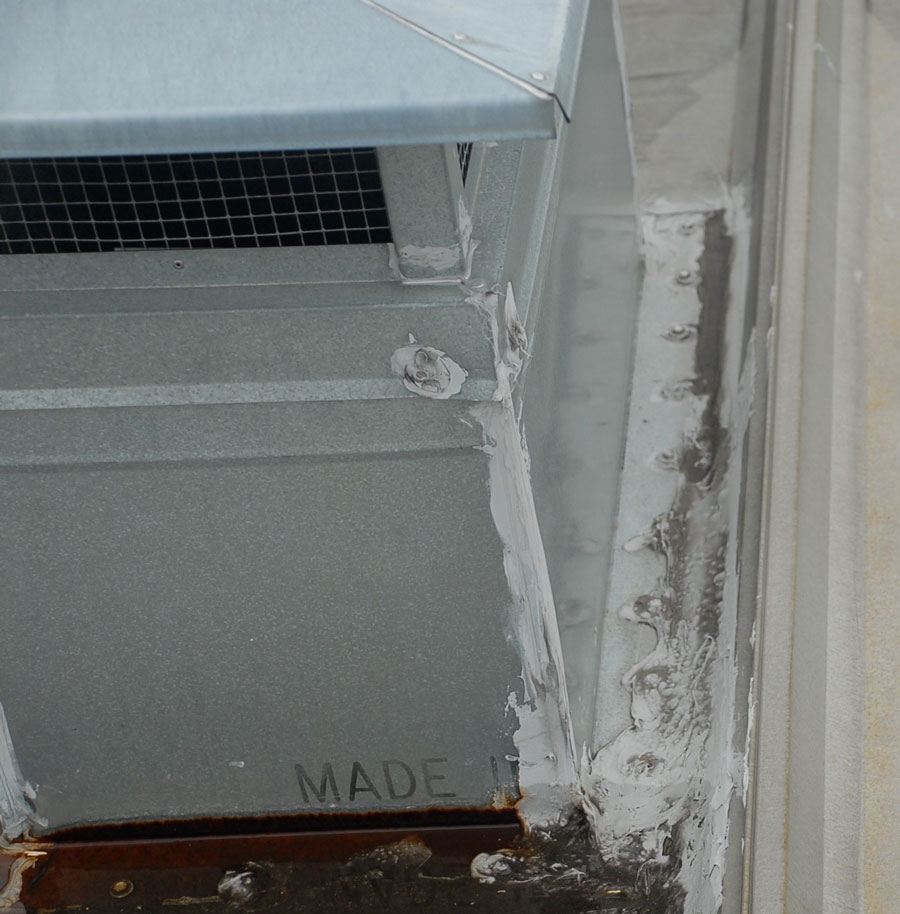 Caulking is used to seal flashing. This is not a permanent repair.